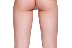 Beauty girl back pants string over white background Stock Photos