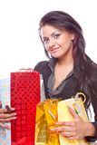 Beauty girl with bag Stock Photo