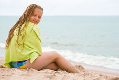 Beauty girl on the beach Stock Image