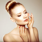 Beauty girl. Beautiful young woman. Stylish model with perfect s Royalty Free Stock Photography