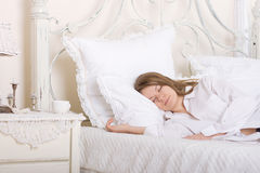 Beauty girl in bed Royalty Free Stock Photos