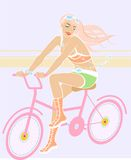 Beauty girl on the bicycle. Vector picture of cartoon girl on the bicycle Stock Image