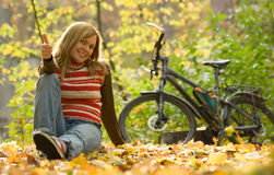 Beauty girl with bike. Stock Photo
