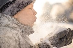 A beauty girl blowing on snow on the winter background stock image