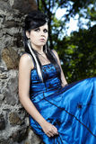 Beauty girl in blue on ancient location Royalty Free Stock Photos