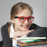 Beauty girl on book royalty free stock image