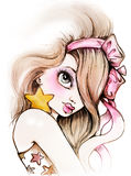 Beauty Girl with bow illustration Royalty Free Stock Images