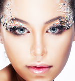 Beauty girl - Brignt brilliant vibrant makeup Stock Photos