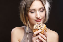Beauty girl with cake Royalty Free Stock Photo
