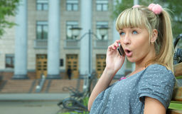 Beauty girl call to cellphone Royalty Free Stock Photos