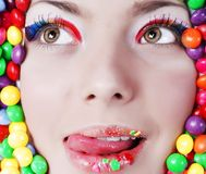 Beauty girl in candys Royalty Free Stock Photography