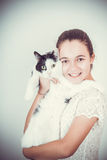 Beauty girl with cat Royalty Free Stock Photo