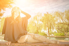 Beauty girl in Chinese style garden royalty free stock photos