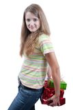 Beauty girl with christmas gifts over white Royalty Free Stock Image
