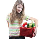 Beauty girl with christmas gifts over white Royalty Free Stock Photos