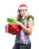 Beauty girl with christmas gifts over white Stock Photography