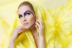 Beauty girl with colored makeup Royalty Free Stock Photo