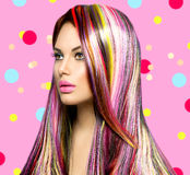 Beauty girl with colorful dyed hair Stock Image