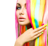 Beauty Girl with Colorful Hair and Nail polish Stock Photos