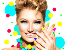 Beauty Girl with Colorful Makeup, Nail polish Stock Photos