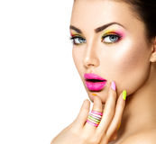 Beauty girl with colorful makeup Royalty Free Stock Photography