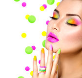 Beauty girl with colorful makeup. Nail polish and accessories royalty free stock photos
