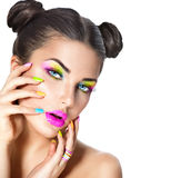Beauty girl with colorful makeup. Nail polish and accessories stock photos