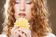 Beauty girl with cookie Royalty Free Stock Image