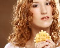 Beauty girl with cookie Stock Photography
