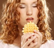 Beauty girl with cookie Stock Photos