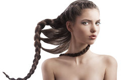 Beauty girl with creative braid Stock Images