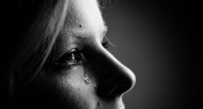 Beauty girl cry. Royalty Free Stock Photo