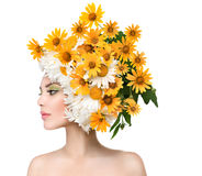 Beauty Girl with Daisy Flowers Hairstyle Stock Images