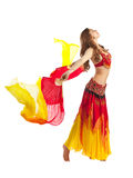 Beauty girl dance with fantail in oriental costume Stock Images