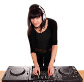 Beauty girl dj techno party Stock Photo