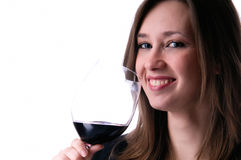 Beauty girl drink wine Royalty Free Stock Photos