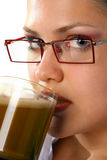 Beauty Girl drinking coffee Stock Photo