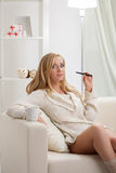 Beauty girl  with e-cigarette vapour Royalty Free Stock Photos