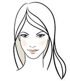 Beauty girl face. Hand-drawn fashion model Stock Image