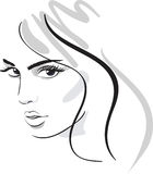 Beauty girl face. Design elements. Vector Illustration Royalty Free Stock Image
