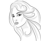 Beauty girl face. Sketch, woman face  portrait. Hair wavy. Design element Royalty Free Stock Photos