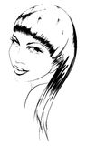 Beauty girl face. Sketch. Beauty girl face on a white background Stock Images