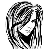 Beauty girl face. Sketch, woman face vector portrait. Hair wave Stock Photo