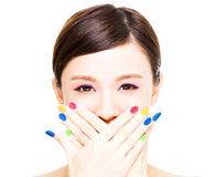 Beauty Girl face with Colorful Makeup concept Royalty Free Stock Image