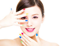 Beauty Girl face with Colorful Makeup concept Stock Photo