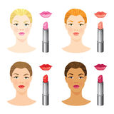 Beauty girl face with different skin tone and different lips and hair color. Vector illustration of different color of lipstick and lips isolated on white Stock Images