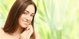 Beauty girl face. Facial medical injection. Medicine procedure. Cosmetology portrait. Pretty white woman royalty free stock photos