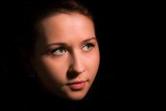 Beauty girl face with green eye Stock Photos