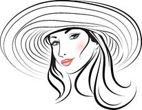 Beauty girl face in a hat Royalty Free Stock Photo