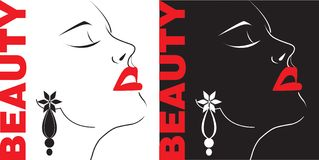 Beauty girl face silhouette. Beauty girl face on black and white background Royalty Free Stock Images